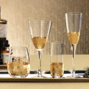 Stemless champagne glass with gold leaf design | Interior Design, Furniture & Home Decor Online Shop Colors of Design Miami FL