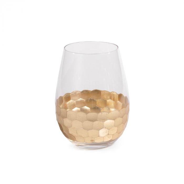 Stemless wine glass with gold leaf design | Interior Design, Furniture & Home Decor Online Shop Colors of Design Gruop Miami FL