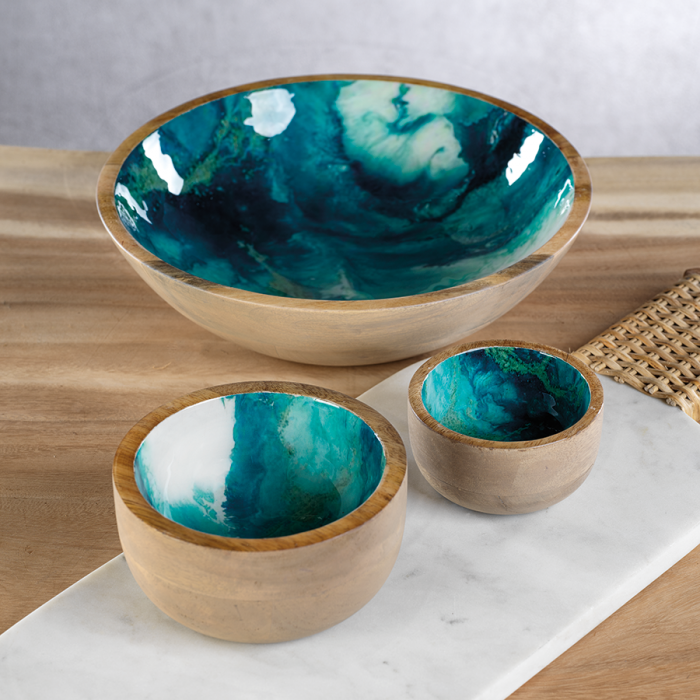 Turquoise Wood Bowl | Interior Design, Furniture & Home Decor Online Store. Unique Accents Decor. Gift Cards Available | Colors of Design, Interior Design Services